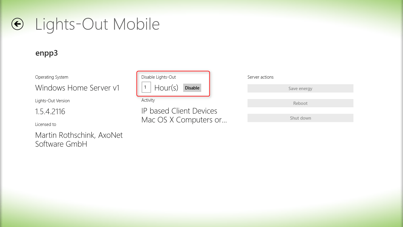 Server properties (Windows Store App)