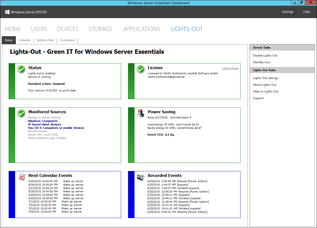 Lights-Out - Green-IT for Windows Server Essentials