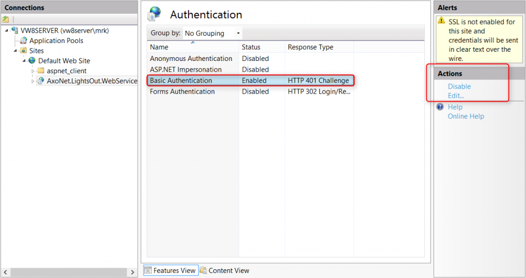 IIS basic authentication
