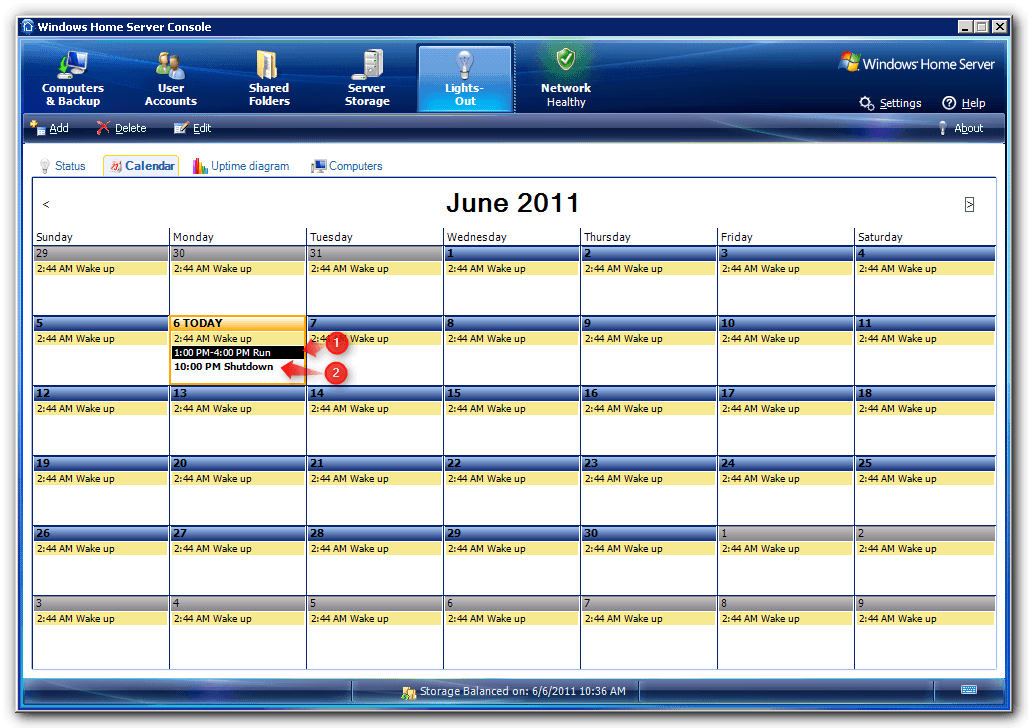 Lights-Out Calendar Tab on WHS