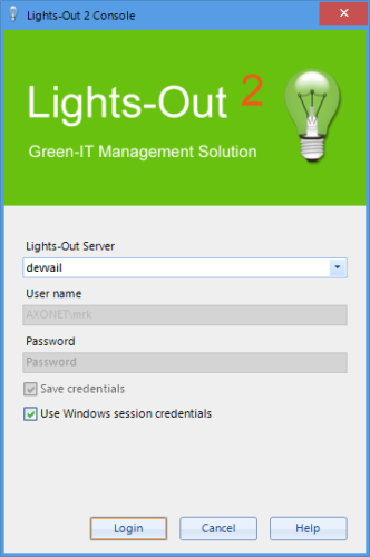 login window with session credentials