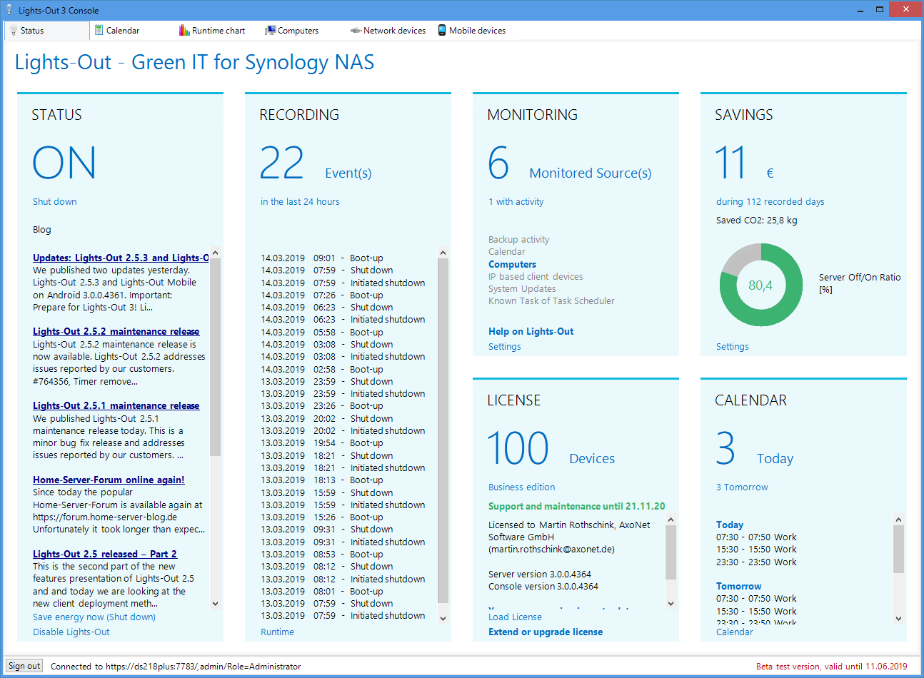 Lights-Out 3 connected to a Synology NAS
