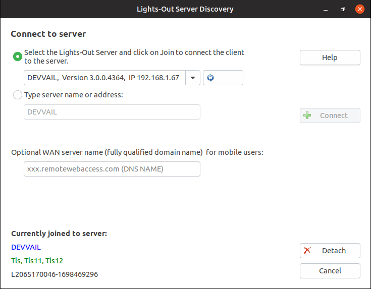 Lights-Out 3 client join application (here Ubuntu)
