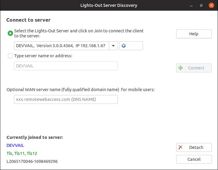 Lights-Out 3 Software für die Verbindung mit dem Server (hier Ubuntu)