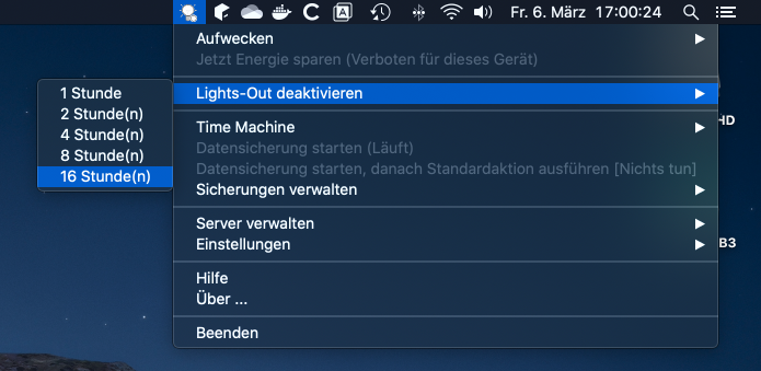 Deaktiviert Lighs-Out am Server (macOS)