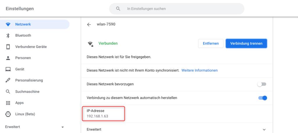 Chromebook WLAN Eigenschaften mit IP-Adresse