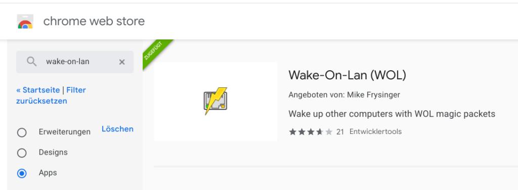 Wake-On-Lan Erweiterung im Chrome Web Store