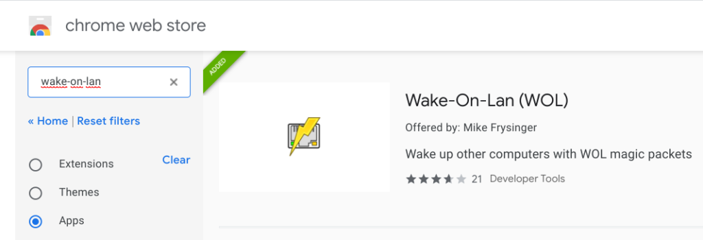 Wake-On-Lan extension in the Chrome Web Store