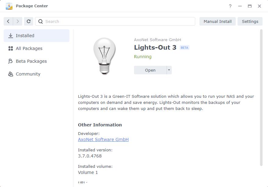 Lights-Out details on Synology DSM 7